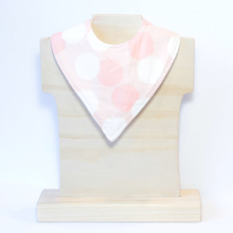 Mucky Duck Crafts pink with cream and blush dots bandana dribble bib