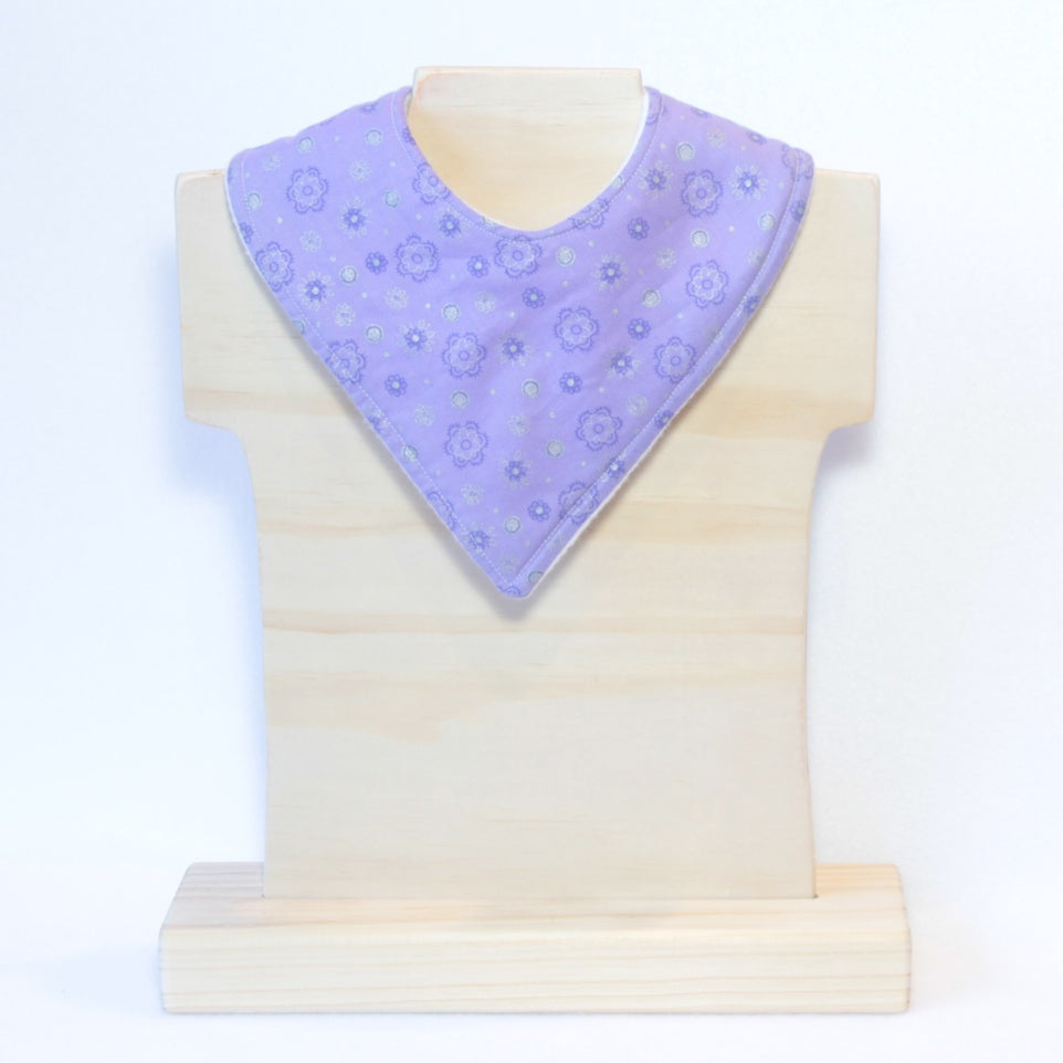Mucky Duck purple and silver bandana dribble bib