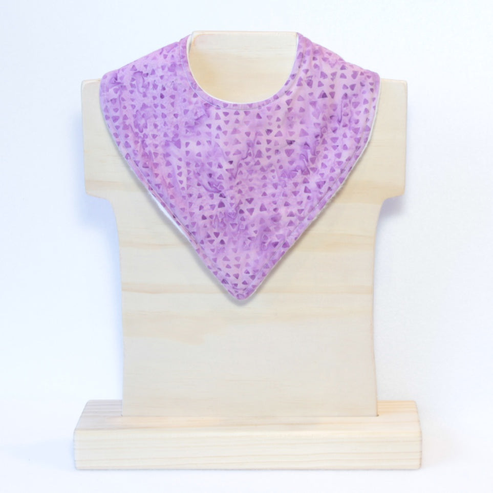 Mucky Duck purple triangles geometric pattern bandana dribble bib