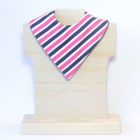 Mucky Duck navy pink and white striped bandana dribble bib