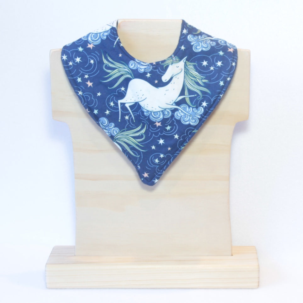Mucky Duck navy unicorn bandana dribble bib