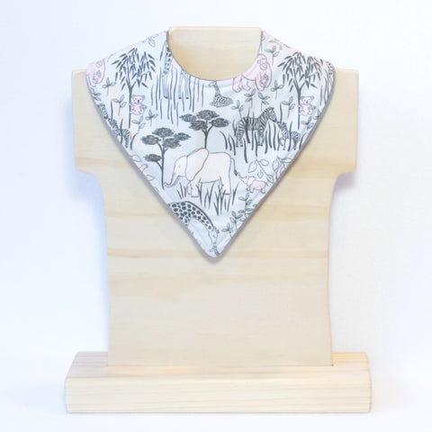 Mucky Duck grey with pink jungle animals bandana dribble bib