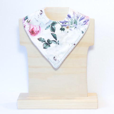 Mucky Duck Crafts Whtie with roses and agapanthus bandana dribble bib