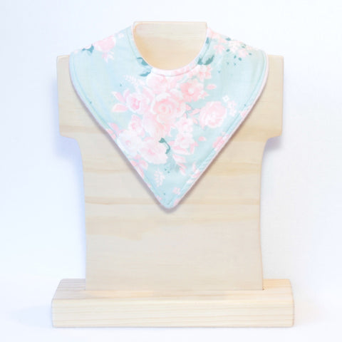 Mucky Duck Crafts Mint with Pink Roses Bandana Drible Bib