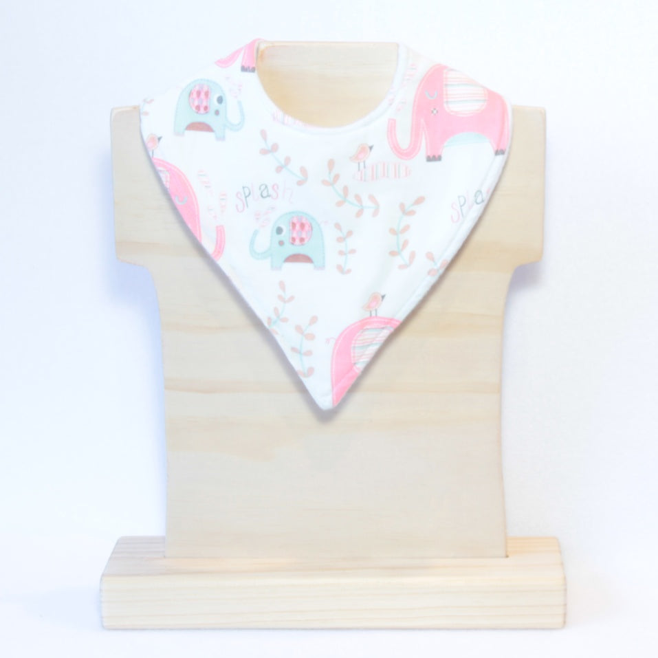Mucky Duck mint with pink elephants bandana dribble bib