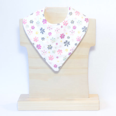 ck White with Pink Grey Mint Flowers bandana Dribble Bib