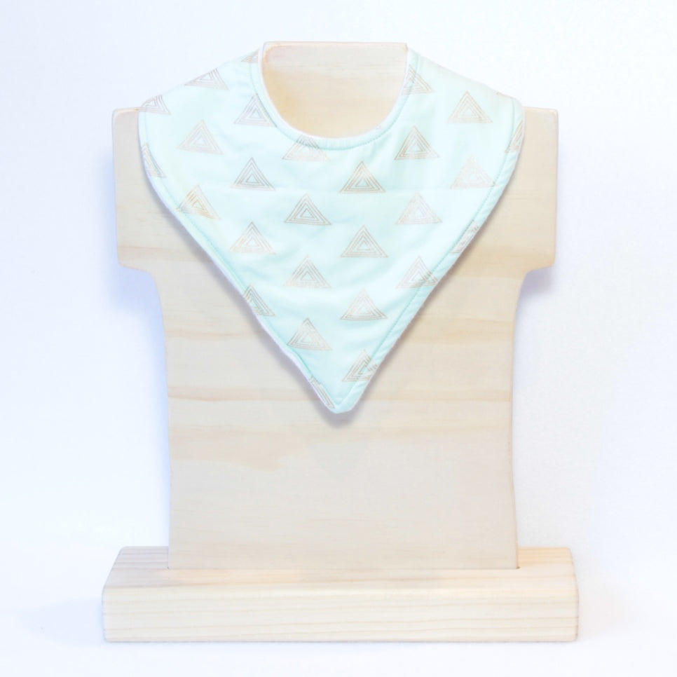 Mucky Duck mint green with copper triangles bandana dribble bib