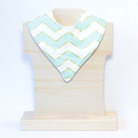 Mucky Duck mint white and gold chevrons bandana dribble bib