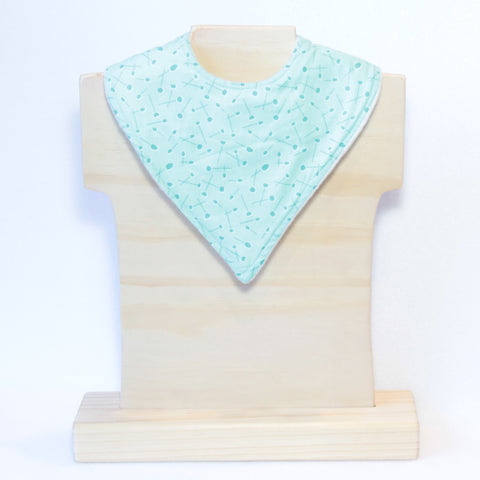 Mucky Duck mint patterned bandana dribble bib