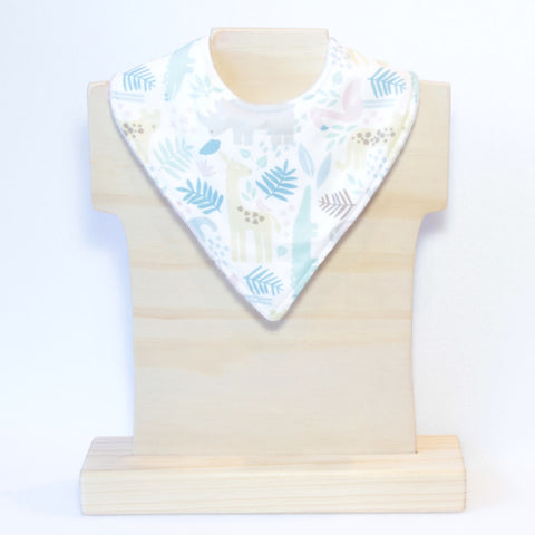 Mucky duck white with pastel zoo animals bandana dribble bib