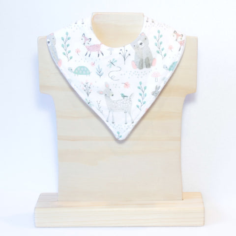 Mucky duck white with woodland animals bandana dribble bib