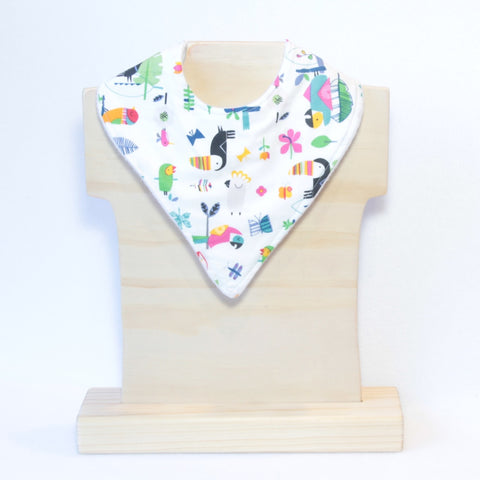 Mucky Duck bright jungle animals bandana dribble bib toucan parrot