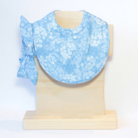 Mucky Duck blue flowers dribble bib and top knot headband set