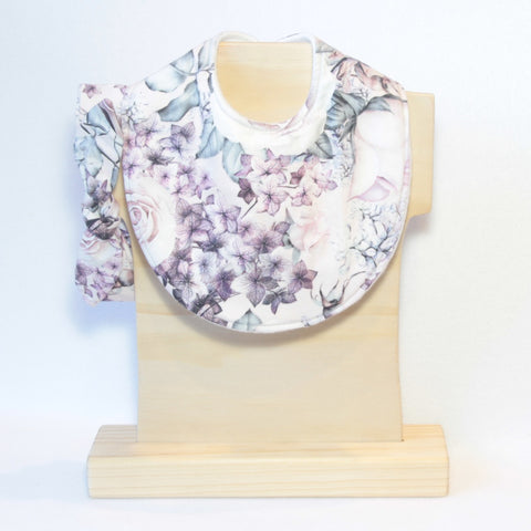 Mucky Duck Crafts pink purple and grey rose and hydrangea regular dribble bib with matching top knot headband