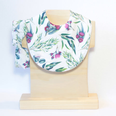 Mucky Duck Crafts white with eucalyptus leaves and pink blossom regular bib with matching top knot headband