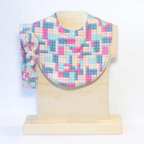 Pink and Blue Building Blocks Bib and Headband Set