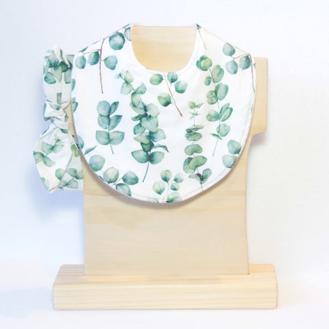 Mucky Duck Crafts white with eucalyptus leaves regular dribble bib and matching top knot headband