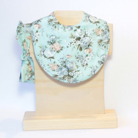 Mucky Duck Crafts Mint with Taupe and Blue Roses regular dribble bib with matching top knot headband