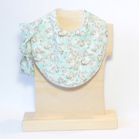 Mucky Duck mint with grey roses dribble bib and top knot headband set