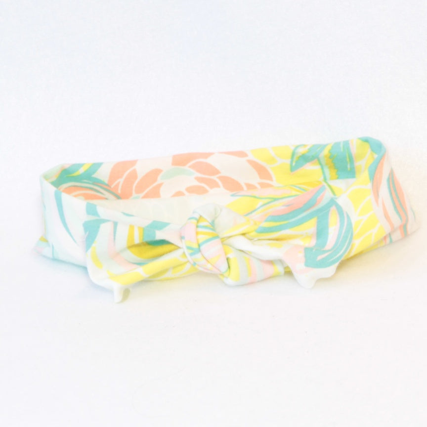 Mucky Duck Crafts White with Yellow Mint and Blush Floral stretchy top knot headband