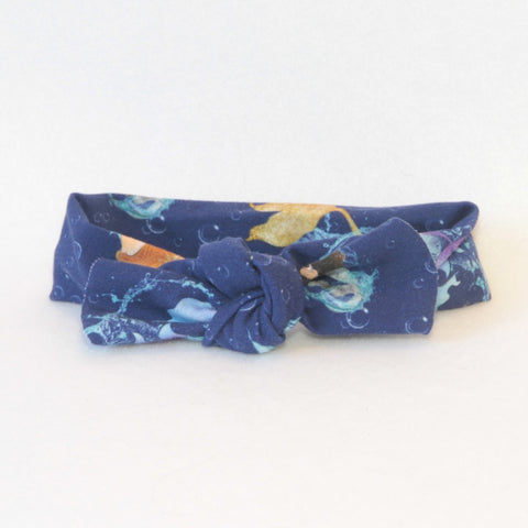 Mucky Duck Crafts navy with mermaids stretchy top knot headband