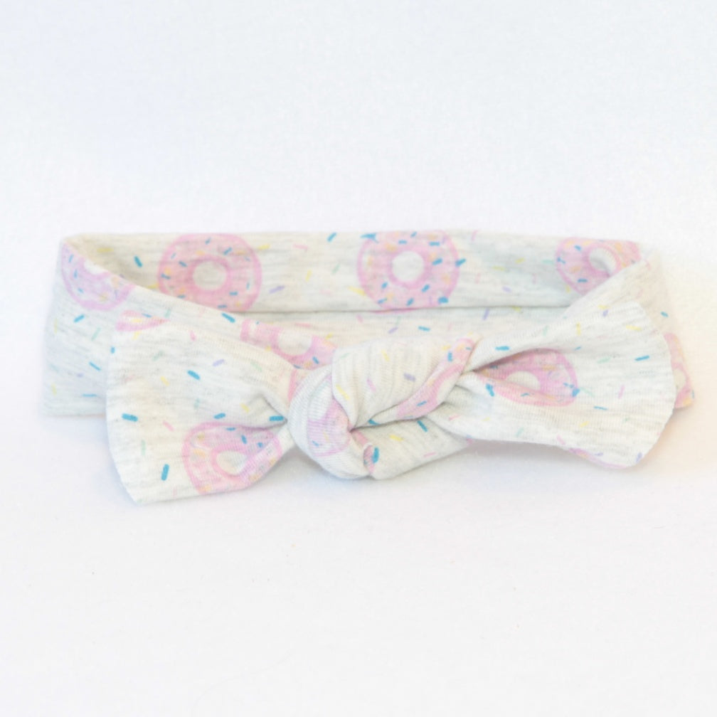 Mucky Duck Crafts pale grey with pink doughnuts stretchy top knot headband