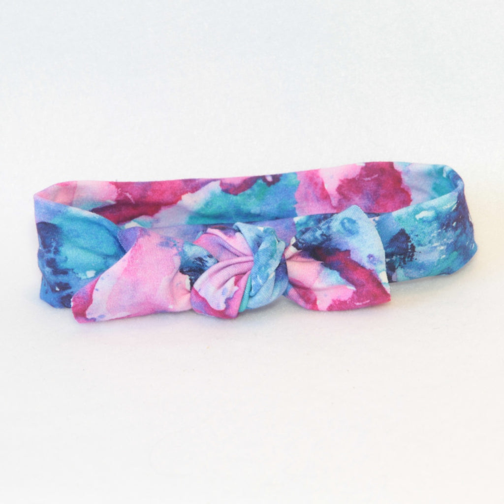 Mucky Duck Crafts bright pink and blue mottled stretchy top knot headband