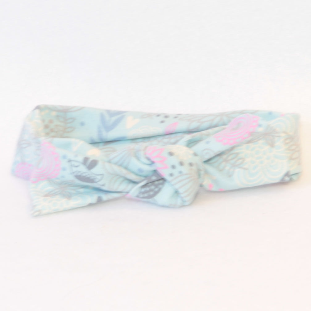 Mucky Duck Crafts pale blue with pink and grey accents stretchy top knot head band