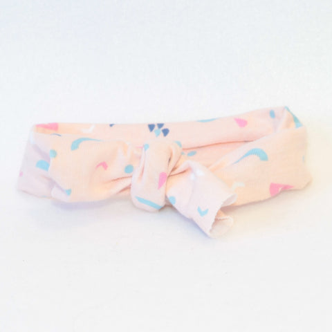 Mucky duck crafts blush with pink and blue pattern stretchy top knot headband