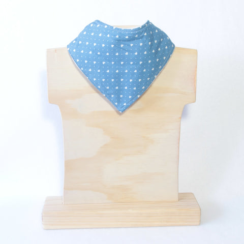 Mucky Duck blue and white hearts bandana dribble bib