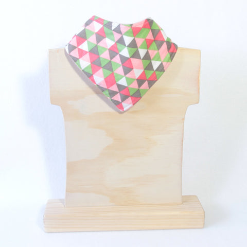 Mucky Duck pink grey green white geometric pattern bandana dribble bib