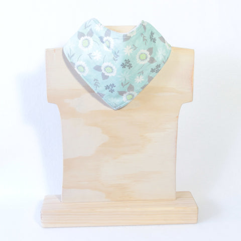 Mucky Duck mint with grey flowers bandana dribble bib