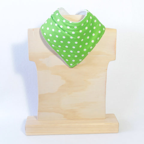 Mucky Duck green with white polka dot bandana dribble bib