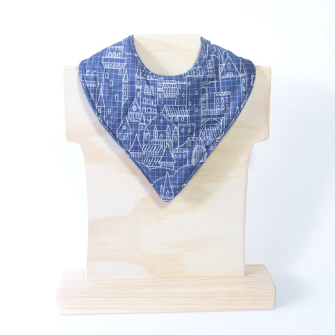 Mucky Duck Crafts navy castle blueprint bandana dribble bib