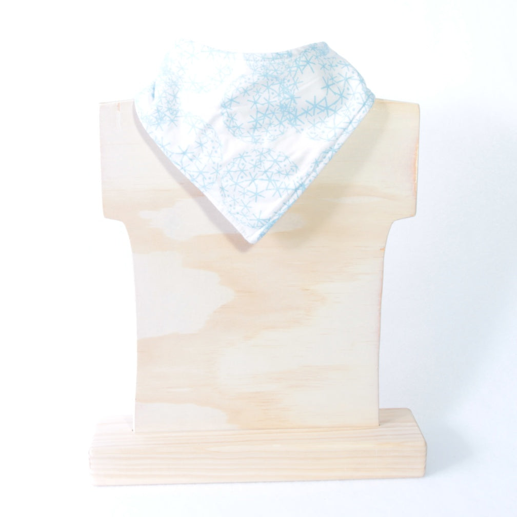Mucky Duck Crafts white with blue asterisks arranged in circle patterns bandana dribble bib