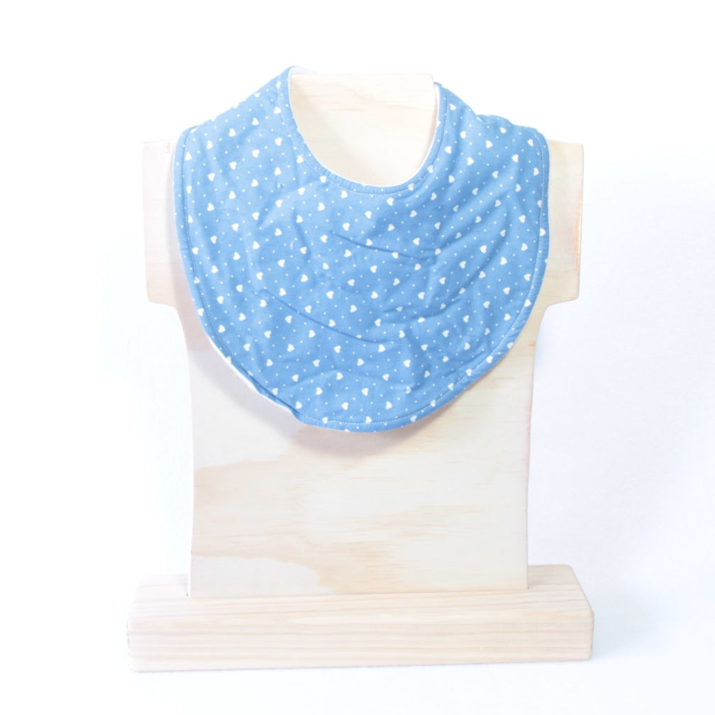 Mucky Duck Crafts blue with white hearts regular dribble bib
