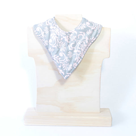 Mucky Duck Crafts grey with pink pattern bandana dribble bib