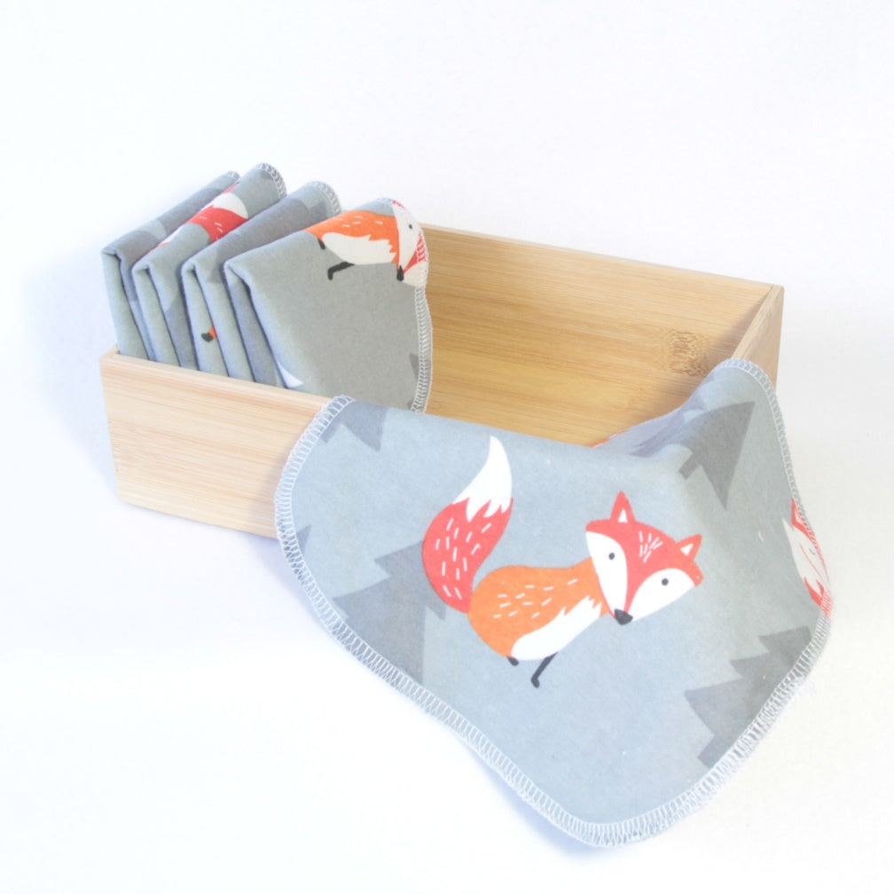 Mucky Duck Crafts grey with orange foxes set of 5 double sided cotton flannelette reusable wipes