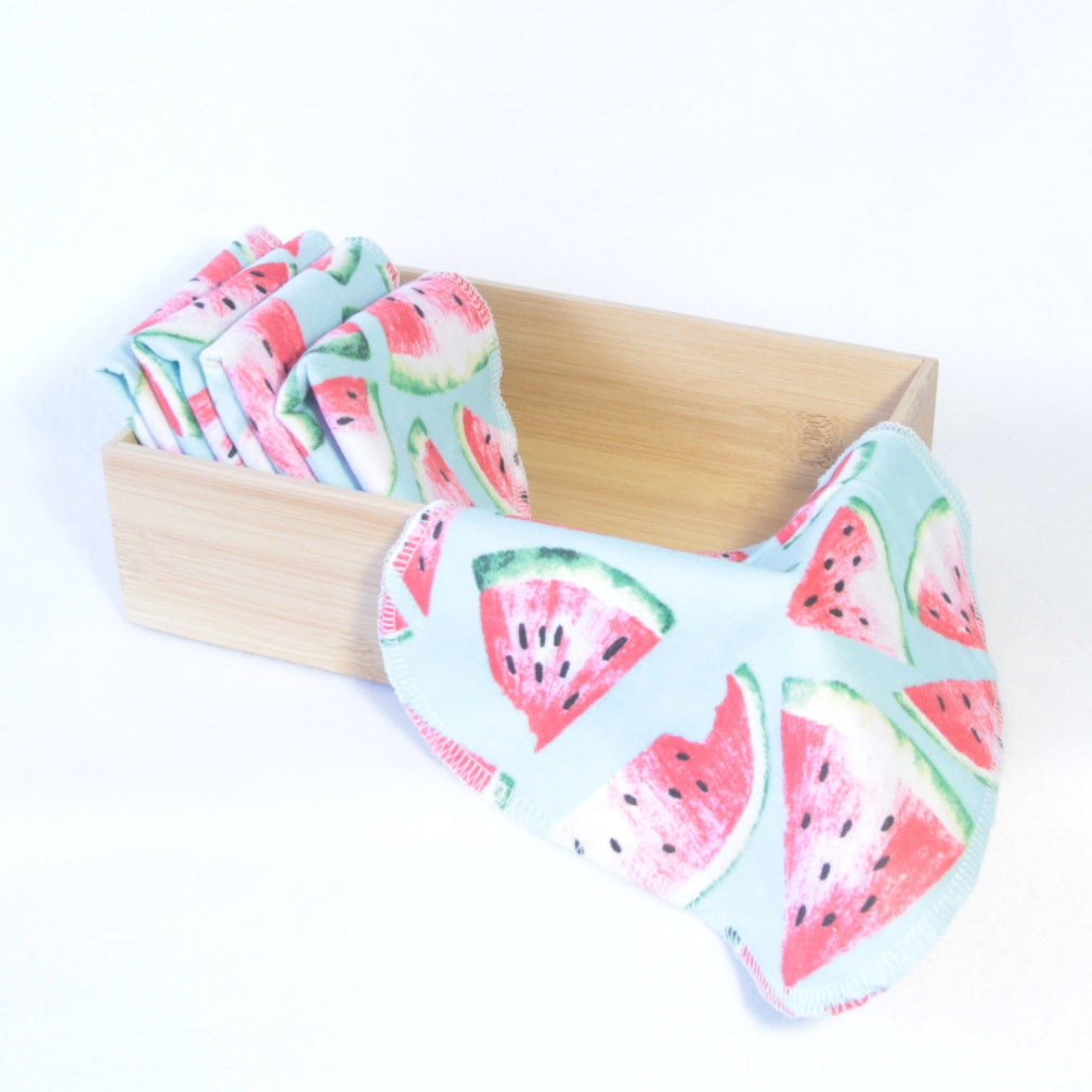 Mucky Duck Crafts set of 5 double sided flannelette reusable wipes in blue with pink and green watermelon print