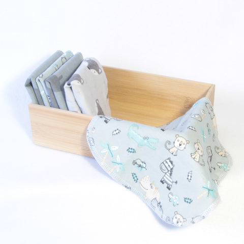 Mucky Duck Crafts set of 5 double sided cotton flannelette reusable wipes in mixed prints