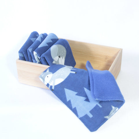 Mucky Duck Crafts set of 5 fleece backed reusable wipes  in a blue with grey foxes print