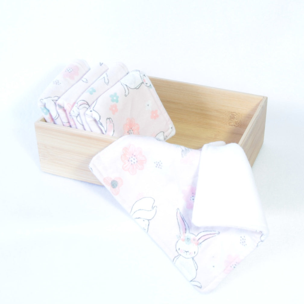 Mucky Duck Crafts set of 5 fleece backed reusable wipes in a pale pink with bunnies print