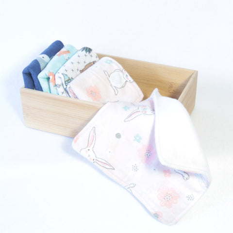 Mucky Duck Crafts set of 5 fleece backed reusable wipes  in mixed prints