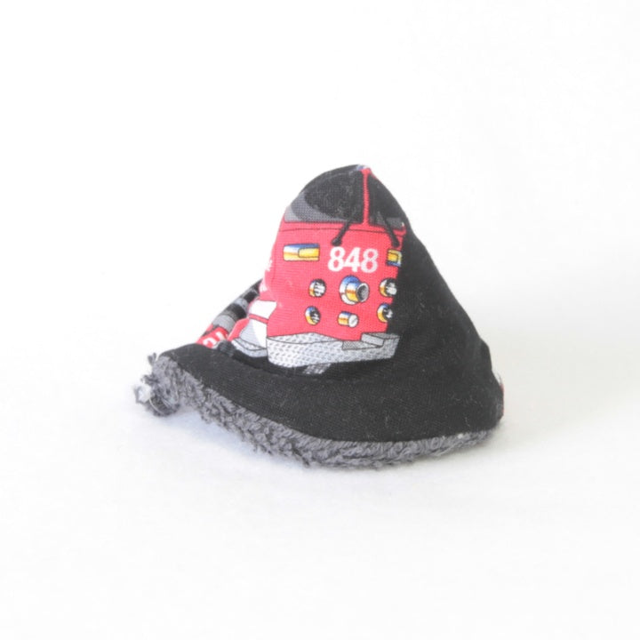 Mucky Duck Crafts wee wee tee pee in black with a red fire engine print
