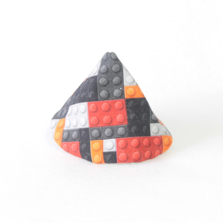 Mucky Duck Crafts wee wee tee pee in red orange black and grey building blocks