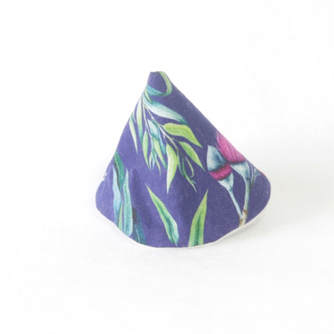 Mucky Duck wee wee tee pee navy with eucalyptus leaves and pink blossom
