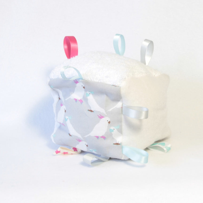 Mucky Duck crafts grey white pink and aqua cockatoos sensory cube