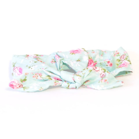 Mucky Duck Crafts mint with pink roses woven cotton top knot headband