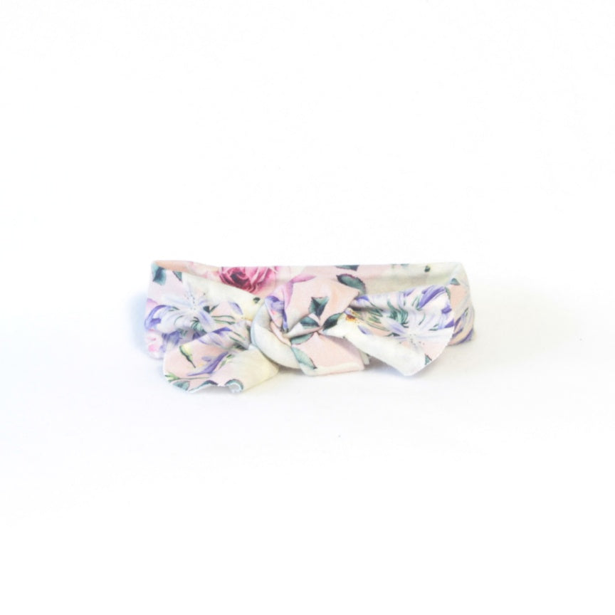 Mucky Duck Crafts pink with roses and agapnthus stretchy top knot headband