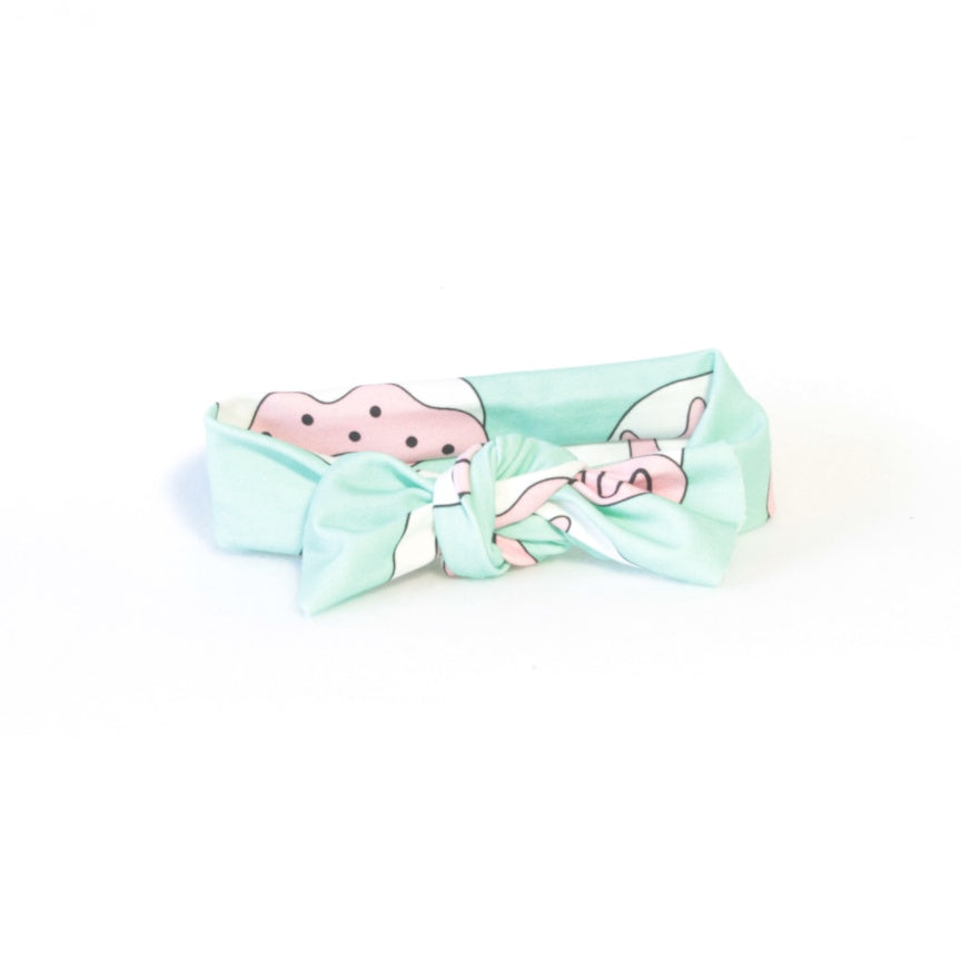 Mucky Duck baby cotton spandex knotted headband mint green with white and pink doughnuts